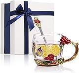 Tazza da Caffè con Fiori Smaltati, Tazza da Tè in Cristallo con Cucchiaio e Confezione Regalo, Farfalla Epossidica e Rosa Design, Regalo Perfetto e Decorazioni per la Casa