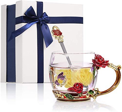 Emaille Blume Kaffee/Tee Tassen, Glas Teetasse mit Löffel, Schmetterlings- und Blumendesign, Klarglasbecher mit Strass Verziertes Finish, Geschenk für Damen (Rote Rose 320ml)