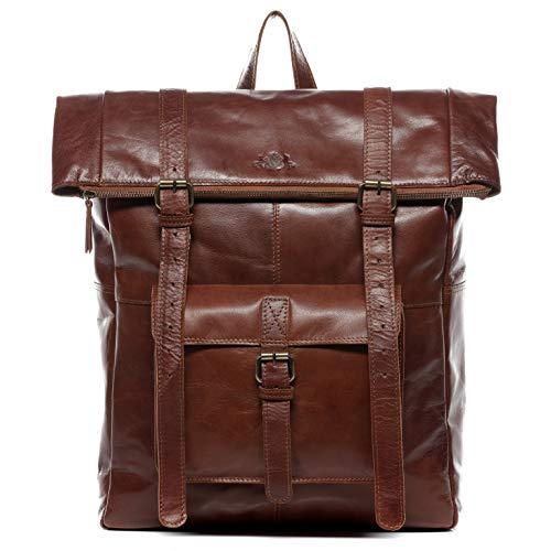 SID & VAIN Zaino vera pelle LIAM Roll Top grande XXL borsa a spalla 15 polliciborsa a zainetto backpack 15,6' uomo cuoio marrone