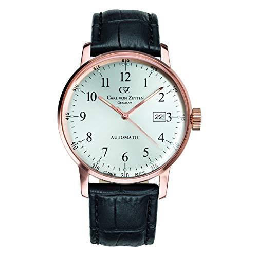 Carl von Zeyten Herren Analog Automatik Uhr mit Leder Armband CVZ0009RWH