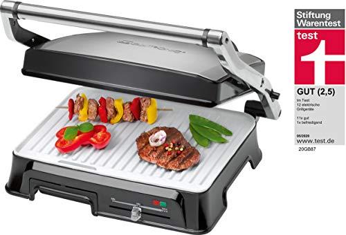 Clatronic KG 3571 Kontakgrill für beidseitiges, fettfreies Grillen / Barbecue-Grill / 2000 Watt / Edelstahlgehäuse/ Kurze Garzeiten / Fettablaufrinne und Auffangschale / Vielseitige Nutzung für z. B. Panini, Steaks, Fisch oder Gemüse