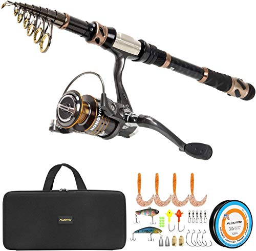Best travel spinning rod - PLUSINNO Fishing Rod and Reel Combos -24 Ton Carbon Fiber Telescopic Fishing Pole - Spinning Reel 12 +1 Shielded Bearings Stainless Steel BB-Free Carrier Bag Case, Travel Saltwater Freshwater Fishing