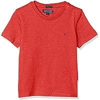 Tommy Hilfiger T Camiseta Básica de Manga Corta, Rojo (Apple Red Heather), 164 (Talla del Fabricante: 14-15) para Niños