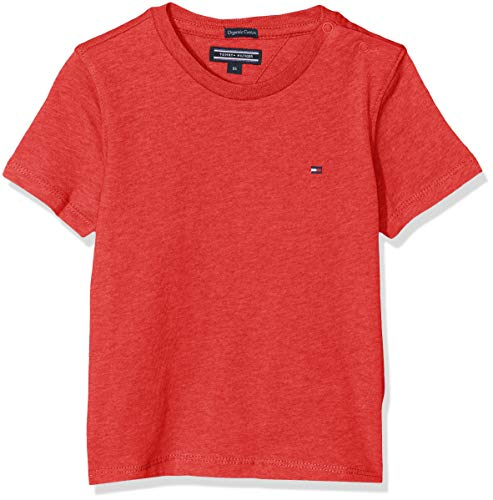 Tommy Hilfiger Jungen Boys Basic Cn Knit S/S T-Shirt, Rot (Apple Red Heather 601), 164 (Herstellergröße: 14)