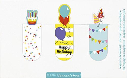 moses. 31128 Magnetlesezeichen Happy Birthday 3er Set, magnetisches Lesezeichen, charmant illustriert