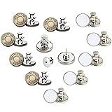 10 piezas Botón de Metal Instantáneo Repuesto Vaqueros Botón 17 MM Botón para Vaqueros Ajustable para Reparaciones de Ropa Chaquetas Correas y Costuras 2 Estilos