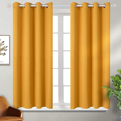 BGment Blackout Curtains for Living Room - Grommet Thermal Insulated Room Darkening Curtains for Bedroom, 2 Panels of 52 x 54 Inch, Mustard Yellow