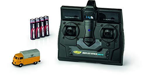 CARSON 500504123 - 1:87 VW T1 Bus Deutsche Post 2.4G 100{d62e4489e8c141efb2079a8599dea5fd89ae71299bc81ed749b04e7ec5d3688b}RTR, Fahrfertiges Modell, 2.4 GHz Fernsteuerung mit Ladeanschluss, inkl. 4xAAA Senderbatterien, mit LED Beleuchtung, Anleitung