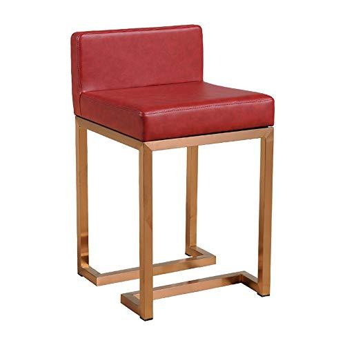 NAN liang Tabouret de bar, bijoux minimaliste moderne en acier inoxydable chaise de comptoir réception haute chaise de dossier de dossier de tabouret ménage, 10 couleurs (Couleur : Rouge)