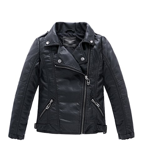 LOKTARC Boys Girls Spring Moto Faux Leather Jackets with Oblique Zipper Black 10-11 Years