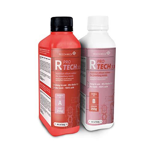 Reschimica R PRO TECH 33 (500gr) - Gomma Siliconica additiva Atossica per la realizzazione di stampi professionali ad elevata durezza (33 shoreA). No ritiro lineare. Rapporto 1:1