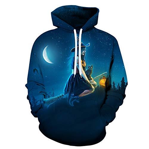 qishi Halloween 3D impreso moda casual suéter suelto con capucha para hombre y mujer, Otoño-Invierno, Túnica, Unisex adulto, color W3213007., tamaño XXX-Large