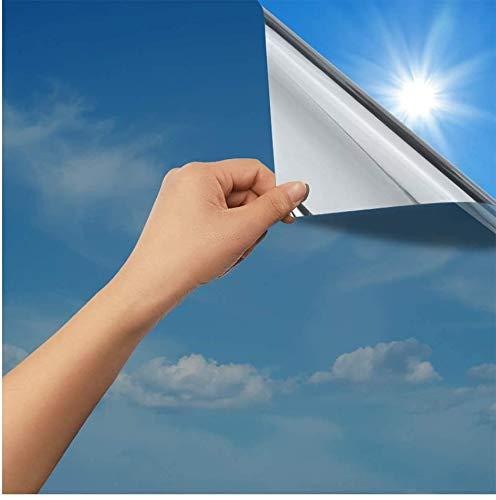 rabbitgoo Vinilo Espejo Papel de Ventana Espejo Ventana Espejo Vidrio Protector Solar Vidrio de privacidad Vinilo Espejo de una...