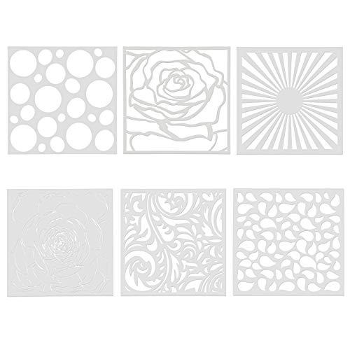 Plantillas de Mandalas Reutilizables para Pintar Plantillas de Plástico Dibujo de Pintura para Artísticos y Manualidades Plantillas de Cortadas con Láser para Decoración para diario,cuaderno 6 Piezas
