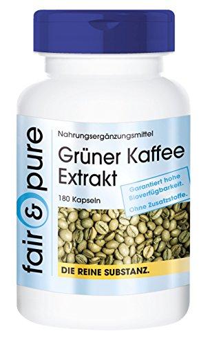 Grüner Kaffee Extrakt 500mg - hochdosiert mit 45% Chlorogensäure - vegan - 180 Kapseln