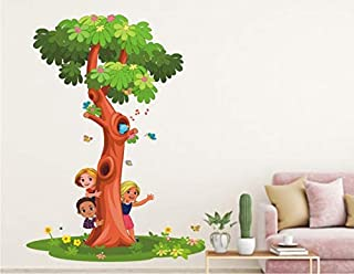 Heaven Decors Kids Activity with Tree for Kids Room Wall Sticker ( Ideal Size on Wall: 54 cm x 75 cm ),Multicolour