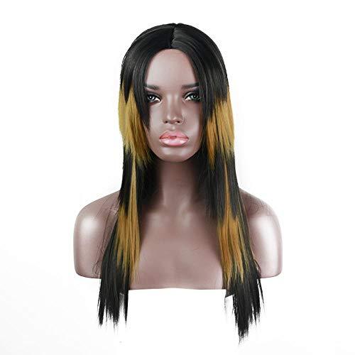 Cheveux longs raides blonds mélangés noirs, 75cm, cheveux artificiels, soie haute température, perruque cosplay, perruque noire brésilienne