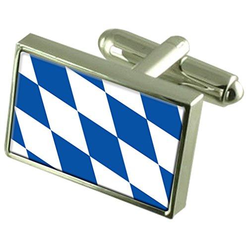 Select Gifts Freistaat Bayern Fahne Sterling Silber Manschettenknöpfe