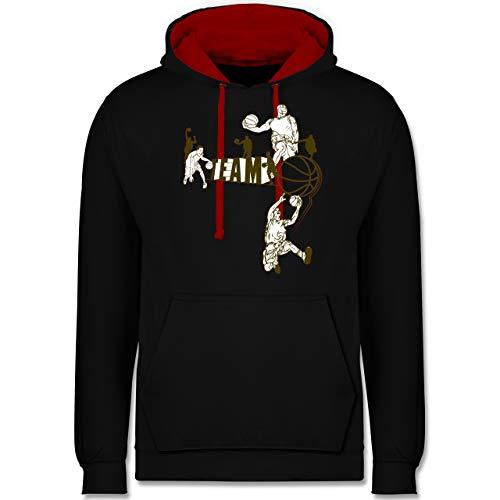 Shirtracer Basketball - Basketball Team - XL - Schwarz/Rot - Team Pullover - JH003 - Hoodie zweifarbig und Kapuzenpullover für Herren und Damen