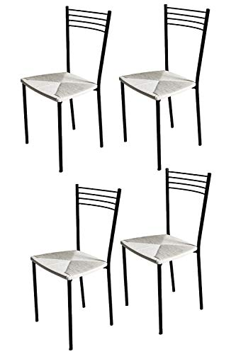 sedie da cucina acciaio Tommychairs - Set 4 sedie modello Elena per cucina bar e sala da pranzo