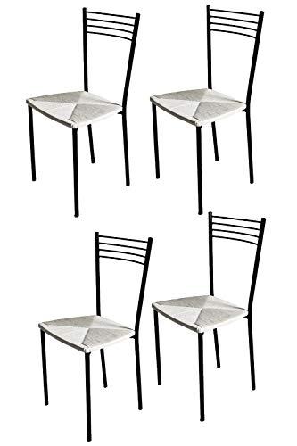 Tommychairs - Set 4 sedie modello Elena per cucina bar e sala da pranzo, struttura in acciaio verniciata colore nero e seduta in finta paglia colore bianco