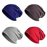 JOYEBUY 4 Pack Women Men Stylish Cotton Beanie Cap Slouchy Beanies Hats Soft Sleep Cap (Style C)