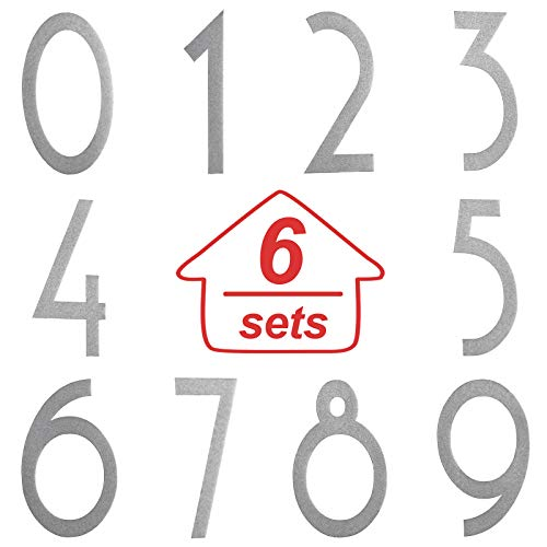 60 Pieces Mailbox Numbers Stickers Reflective Self Adhesive Vinyl Waterproof 0-9 Number Cute Decal Stickers DIY Decorations for Mailbox, Sign, Door, Car, Business, Address Number (Silver,2 Inch)