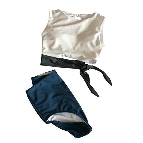 canlan Traje de baño de las señoras Split traje de baño hueco de cintura alta boxeador de color a juego casual traje de baño de dos