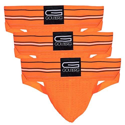 GOLBERG G Herren Athletic Supporters (3er-Pack) – Jock Strap Unterwäsche – Extra Stark Elastisch - Orange - Large