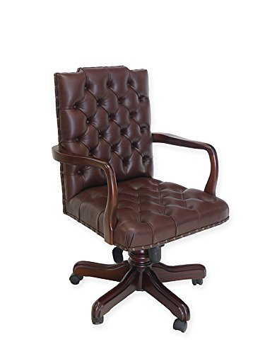 Antike Fundgrube Chefsessel im Chesterfield Stil Massivholz mit braunem Leder | Bürosessel Bürostuhl | Nussbaum-Farbton dunkel | mit Rollen (6377)