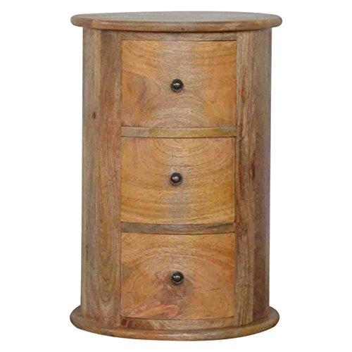 Artisan Furniture 3-Drawer Slim Drum Chest, Wood, Natural Oak Finish