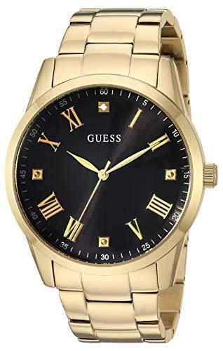 GUESS Relógio de pulseira de aço inoxidável dourado com mostrador de diamante genuíno preto + algarismos romanos dourados Cor: Tom dourado rosa (modelo U1194G3)