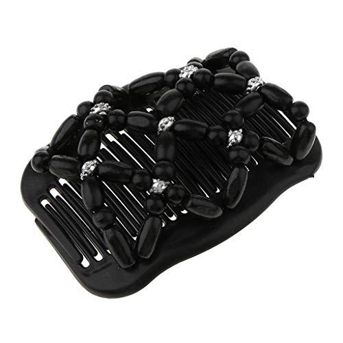 Afrikanische Haarklammer Haarspange Haarkamm Schmuck Haarspange Haarkämme Haarschmuck mit Holzperlen für Damen - Schwarz