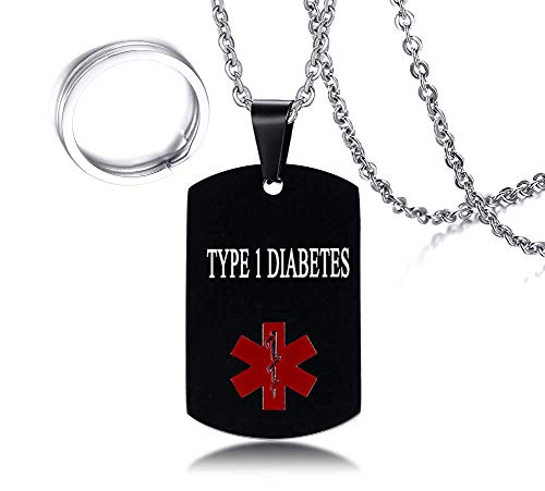 Men's Stainless Steel Medical Alert Type 1 Diabetes Dog Tag Pendant Necklace Black,Men Jewelry Gift