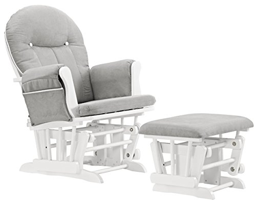 Angel Line Celine Glider and Ottoman, White/Gray Cushion with White Piping