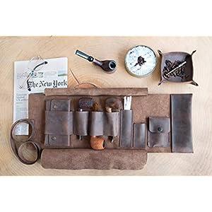 Leder Handgemachte Pfeifentasche, Tabak Rollup Tasche, Dunkelbraun