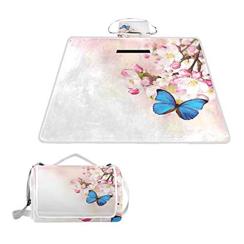 XINGAKA Picknickdecke,Blauer Schmetterling auf Frühlingskirschblüten Japanische Blume W.trifft Pink Orchard Nature,Outdoor Stranddecke wasserdichte sanddichte tolle Picknick Matte