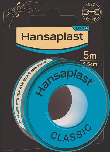 Hansaplast Fixierpflaster Classic (5 m x 2,5 cm), Tapeband zur einfachen und sicheren Fixierung von Wundverbänden, Heftpflaster Rolle mit starker Klebekraft.