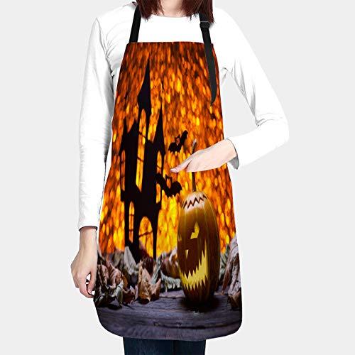 Delantales de Cocina con Bolsillo,calabaza halloween lámpara murciélago de madera antiguo,Delantal Impermeables para Hombre Mujer Delantale para Jardinería Restaurante Barbacoa Cocinar Hornear
