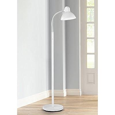 Modern Floor Lamp Adjustable Gooseneck Arm White Metal for Living Room Reading Bedroom Office - 360 Lighting
