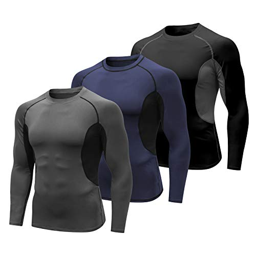 MEETYOO Tee Shirt Compression Homme, T-Shirt Manche Longue Haut Running Vetement Baselayer pour Sports Jogging Fitness