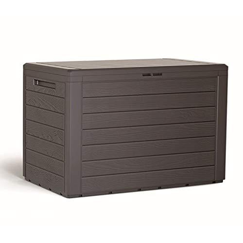 Mojawo Kunststoff Auflagenbox Kissenbox Gartenbox Holz-Optik für Polsterauflagen Kunststoff wasserdicht Mokka 190Liter