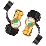 Ubrand RV Propane Tank Gauge Gas Pressure Meter with Type 1 Connection,Upgraded Propane Level Indicator Leak Detector for RV Camper, Cylinder, Heater, BBQ Gas Grill and More Appliances (2 Pack)