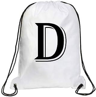 IMPRESS Drawstring Sports Backpack White with Algerian Letter D