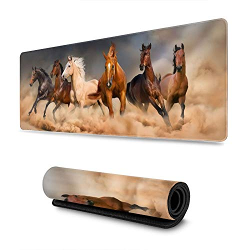 Horse Run in Desert Gaming Mouse Pad, Long Extended XL Mousepad Desk Pad, Large Non-Slip Rubber Mice Pads Stitched Edges, 31.5'' X 11.8''
