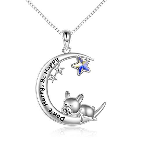 VONALA Collar de plata de ley 925 con colgante de luna, diseño de bulldog francés, gato, búho, elefante, regalo de cumpleaños para mujeres y niñas, Plata de ley 925 Cristal,