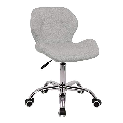 EUCO Grey Desk Chair,Comfy Fabric Computer Chair Adjustable Height Office Chair with Chrome Base Padded Swivel Chair,Home/Office Furniture (Grey-2, Fabric)