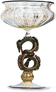 YourMurano Copa de cristal de Murano, copa transparente, decoraciones de hojas doradas, tallo de dragón negro, copa hecha a mano, 100% marca de origen garantizada, Morgana