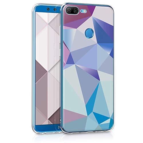 kwmobile Hülle kompatibel mit Huawei Honor 9 Lite - Handyhülle - Handy Hülle Dreiecke Asymmetrie Hellblau Rosa Blau