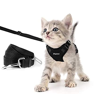 Eagloo Cat Harness and Leash Set for Walking Escape Proof with 2-in-1 Leash and Car Seat Belt Adjustable Harness for Cats Soft Mesh Cat Vest with Reflective Strap for Kitten Rabbit Puppy